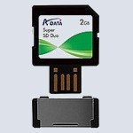 Флеш карта A-Data SD Duo + USB 2 Gb 80x